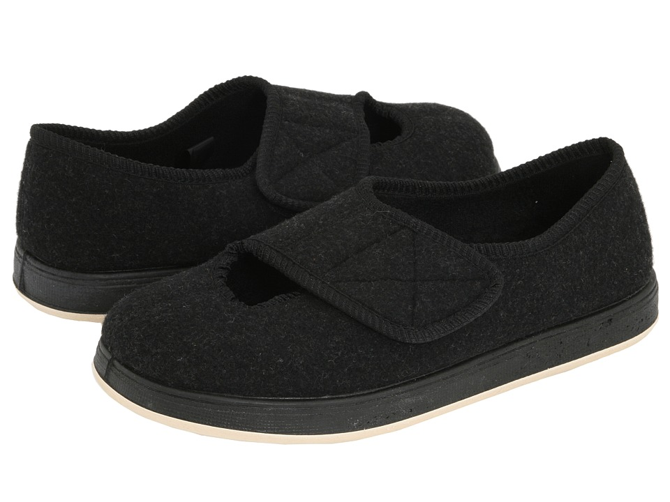 Foamtreads Kendale Black Fabric Womens Slippers