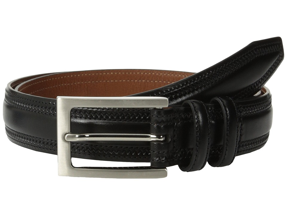 Johnston & Murphy - Double-Pinked Belt (Black) Mens Belts