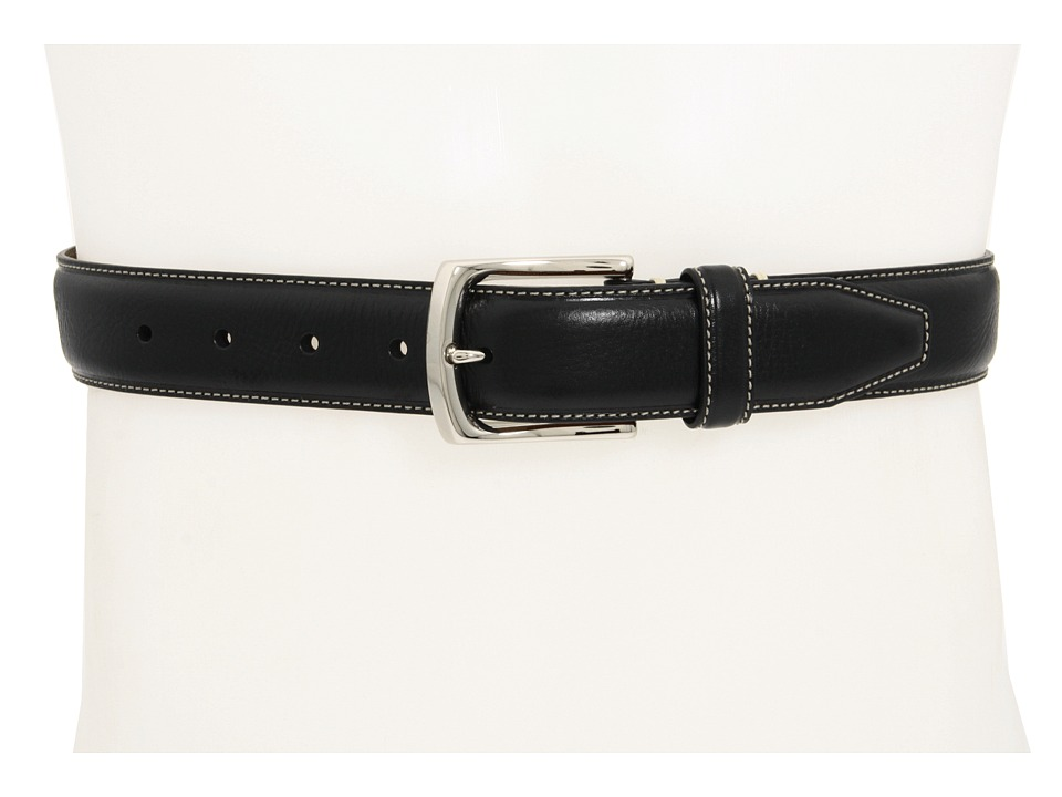 Johnston & Murphy - Topstitched Belt (Black) Mens Belts