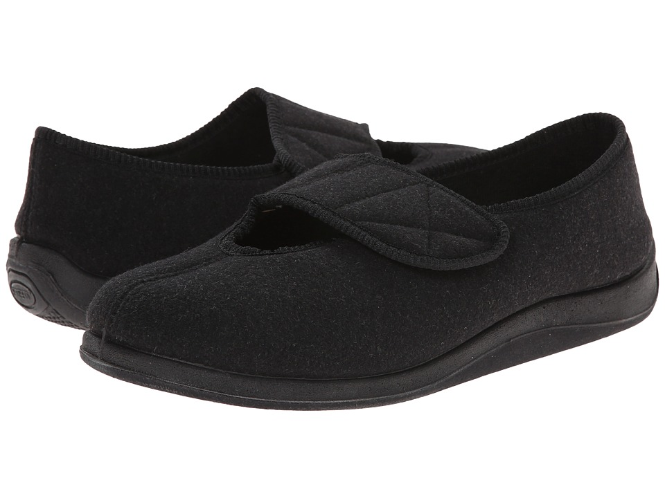 Foamtreads Kendale Black Wool Mens Slippers