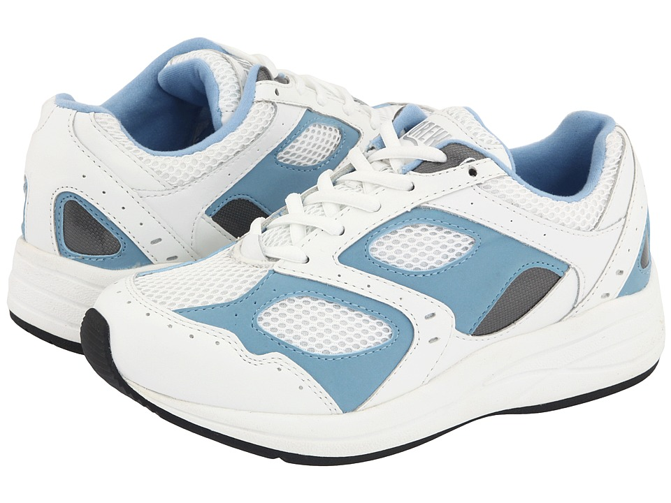 Drew Flare (White/Blue Leather/White Mesh) Women's Walking Shoes