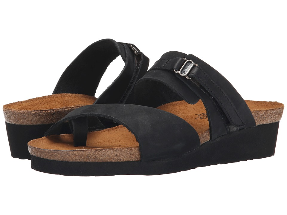 Naot - Jessica (Black Shiny Leather/Black Nubuk) Women's Sandals