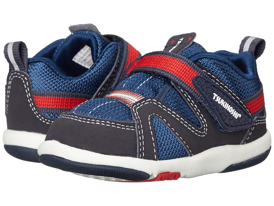 Tsukihoshi Kids Maru (Toddler) (Navy/Red) Boys Shoes