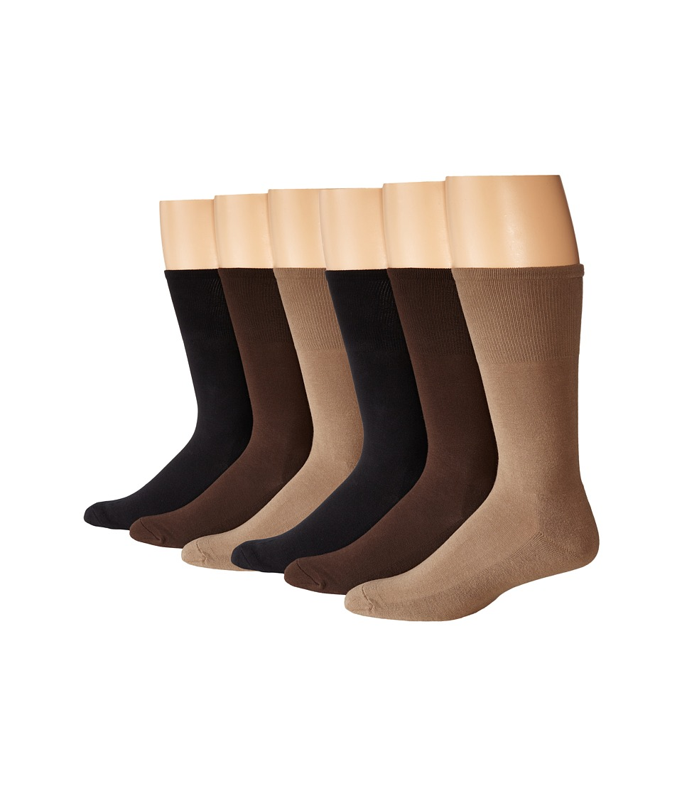 Ecco Socks - Cushion Mercerized Cotton Sock 6-Pack (Black, Taupe, Brown) Mens Crew Cut Socks Shoes