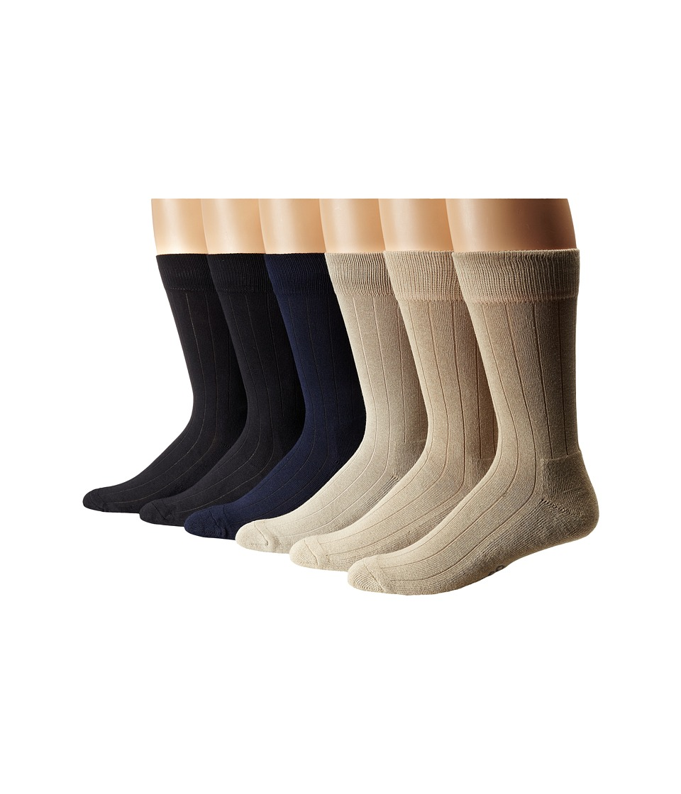 Ecco Socks Solid Color Rib Cushion Socks 6 Pack Black Navy Taupe Stone Mens Crew Cut Socks Shoes