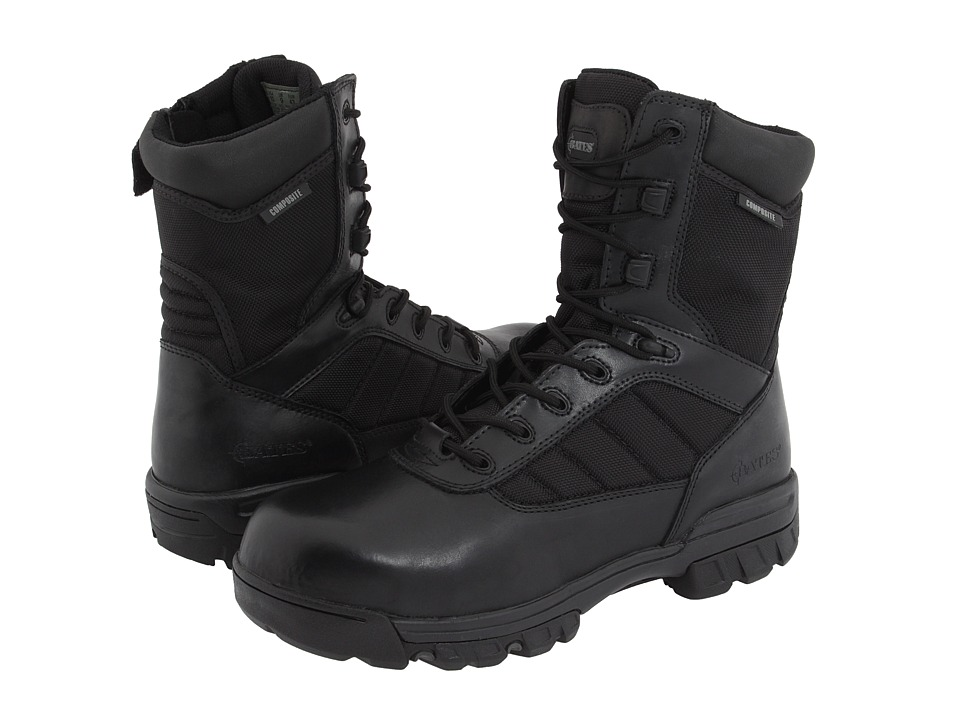 Bates Footwear 8 Tactical Sport Composite Toe Side Zip Black Mens Work Boots