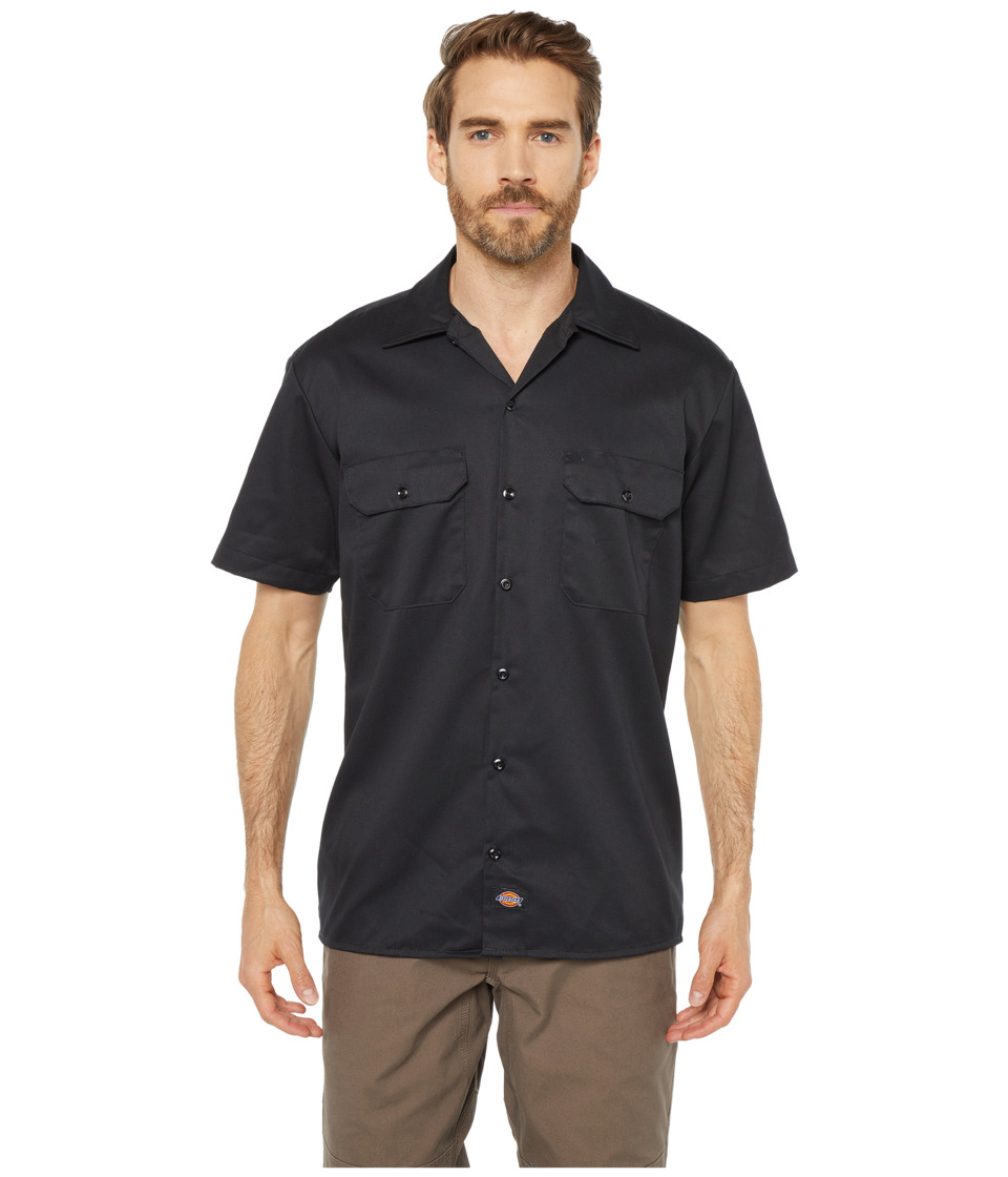 Dickies - Short Sleeve Work Shirt (Black) Mens Short Sleeve Button Up