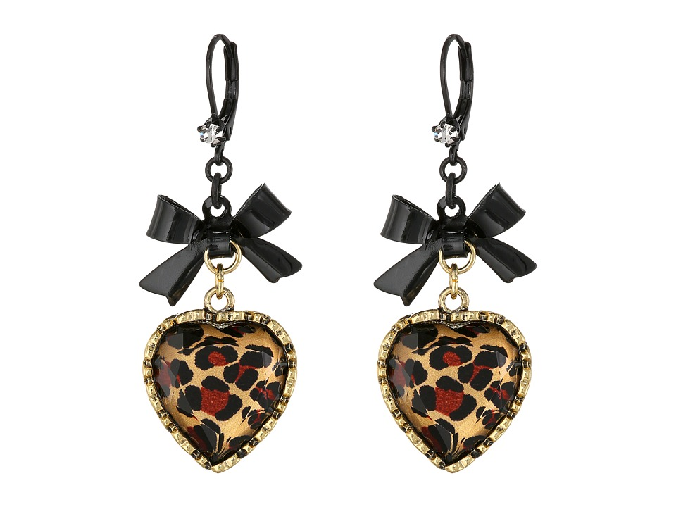 Betsey Johnson - Euro Leopard Heart Black Bow