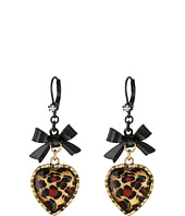 Betsey Johnson - Euro Leopard Heart Black Bow