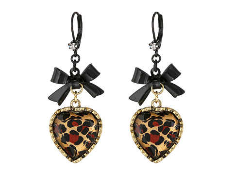 Betsey Johnson Euro Leopard Heart Black Bow