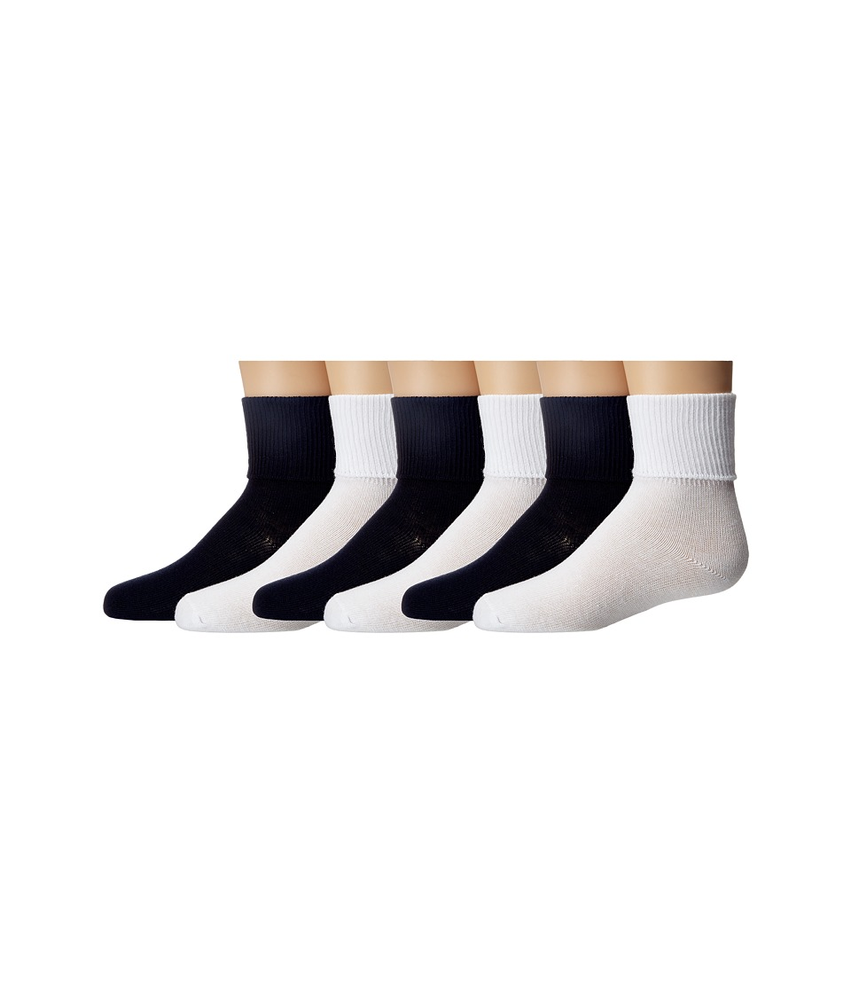 Jefferies Socks Turncuff 6 Pair Pack Infant/Toddler/Little Kid/Big Kid/Adult White/Navy Girls Shoes