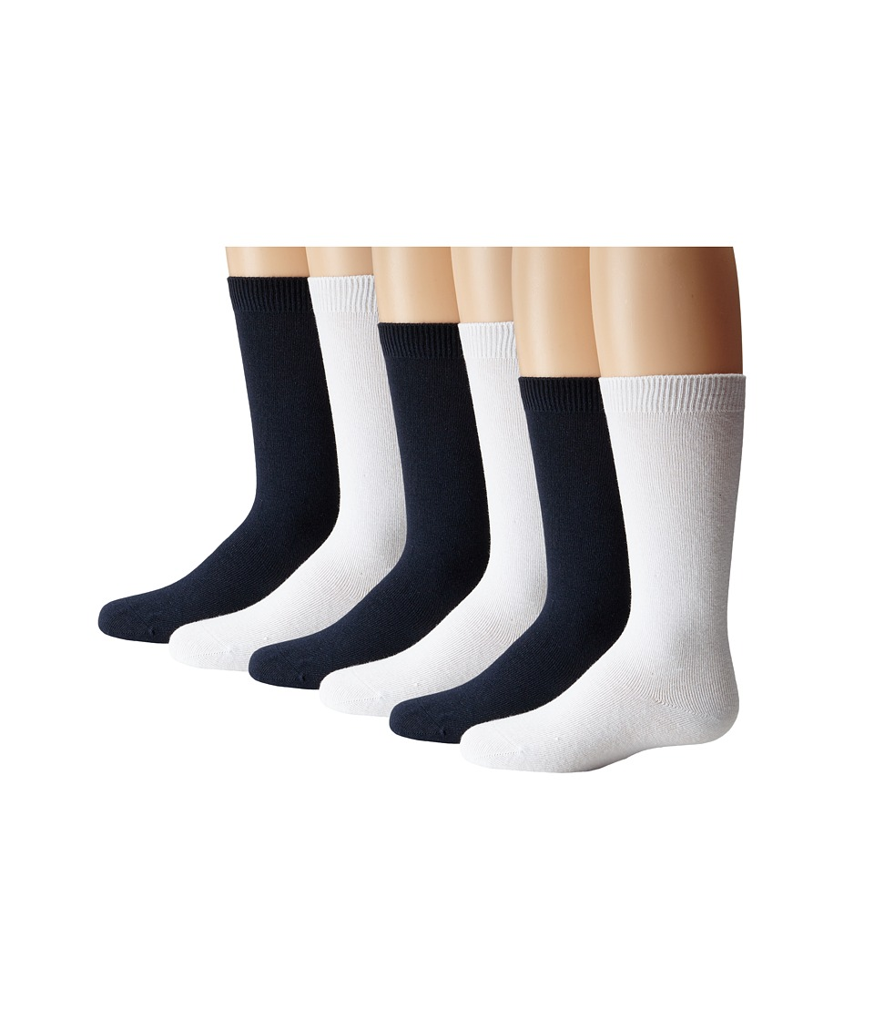 Jefferies Socks - Seamless Big Hug 6 Pair Pack (Infant/Toddler/Little Kid/Big Kid/Adult) (White/Navy) Girls Shoes