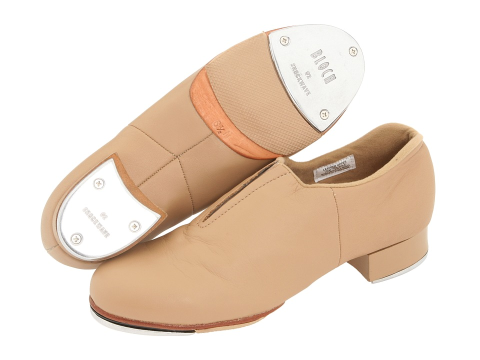 Retro Style Dance Shoes Bloch - Tap-Flex Slip On Tan Womens Tap Shoes $70.00 AT vintagedancer.com