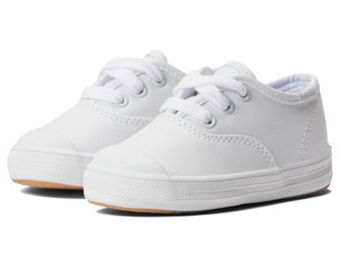 Keds Kids Champion Lace Toe Cap 2 (Toddler) - White Leather