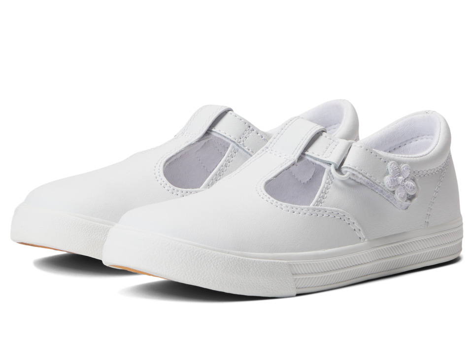 Keds Kids Daphne T Strap 2 Toddler/Little Kid White Leather Girls Shoes