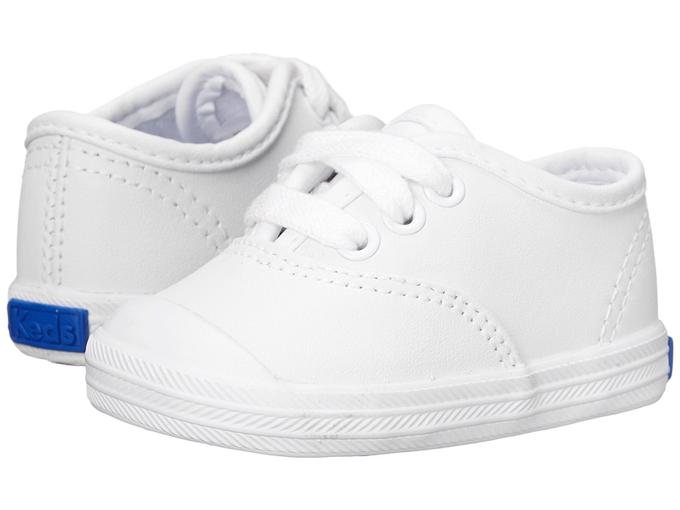 Keds Kids Champion Lace Toe Cap 2 Infant White Leather Girls Shoes