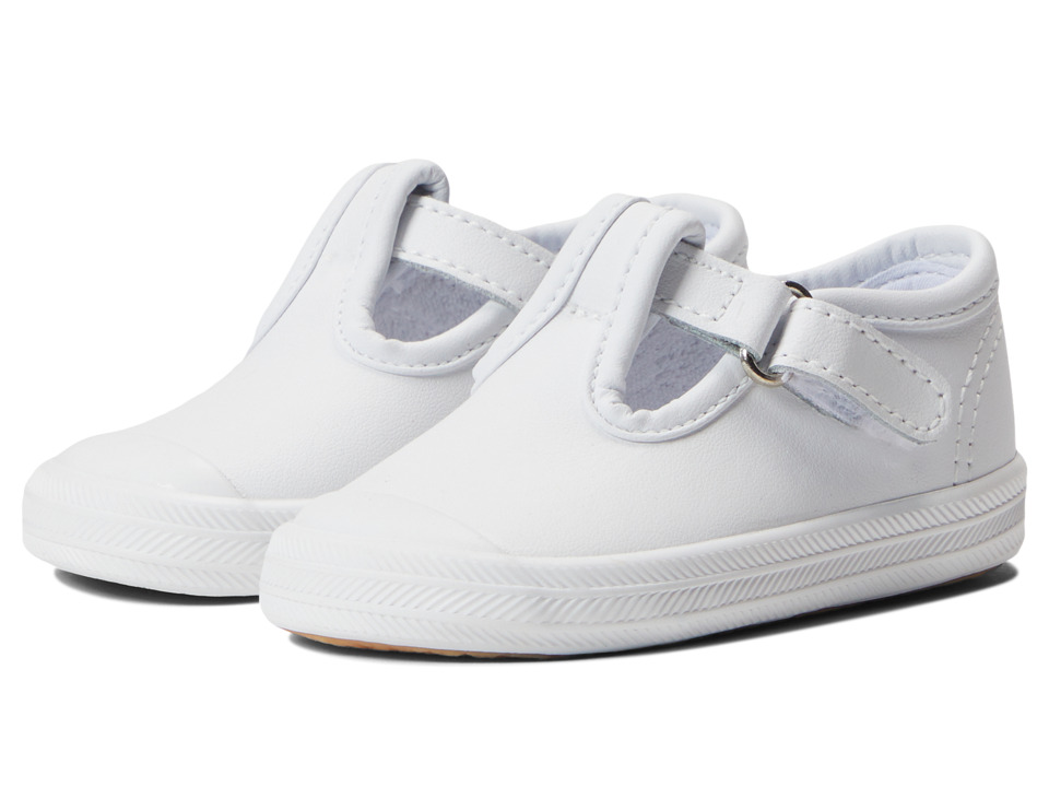 Keds Kids Champion Toe Cap T Strap 2 Infant/Toddler White Leather Girls Shoes