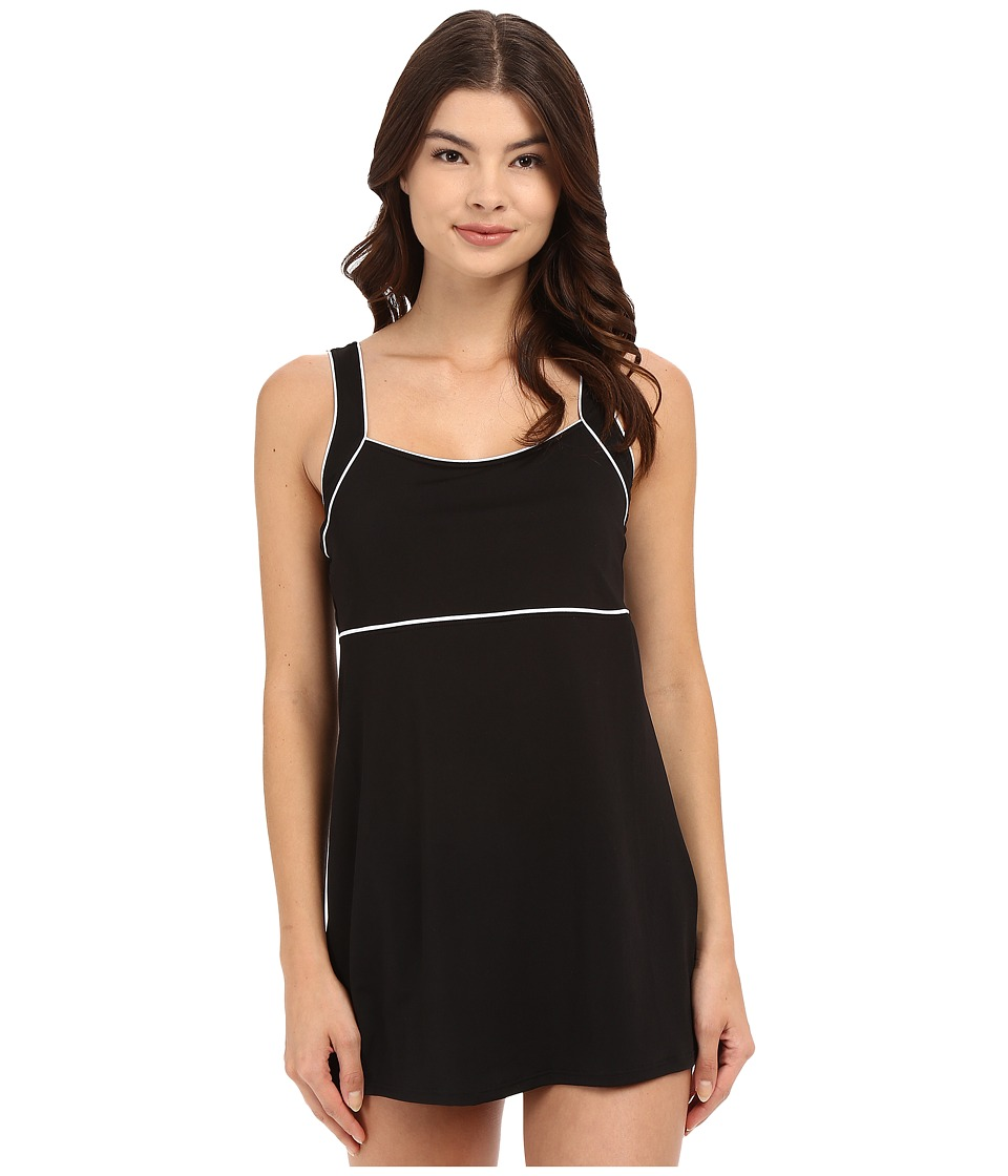 Speedo Piped Sheath Dress (Black) Women