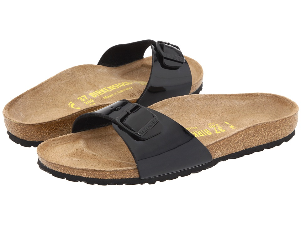 Birkenstock - Madrid Slip-On (Black Patent Birko-Flor) Womens Sandals
