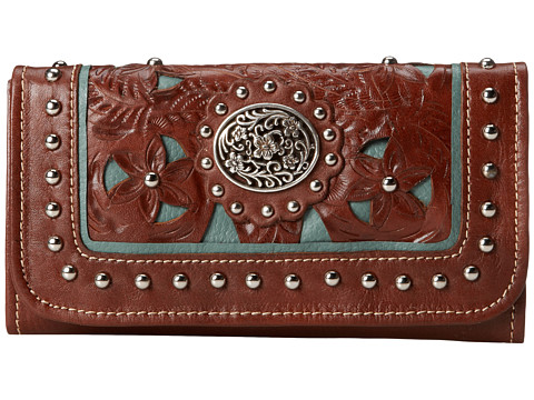 American West Lady Lace Tri-Fold Wallet - Brown/Turquoise