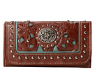 American West Lady Lace Tri-Fold Wallet (Brown/Turquoise)