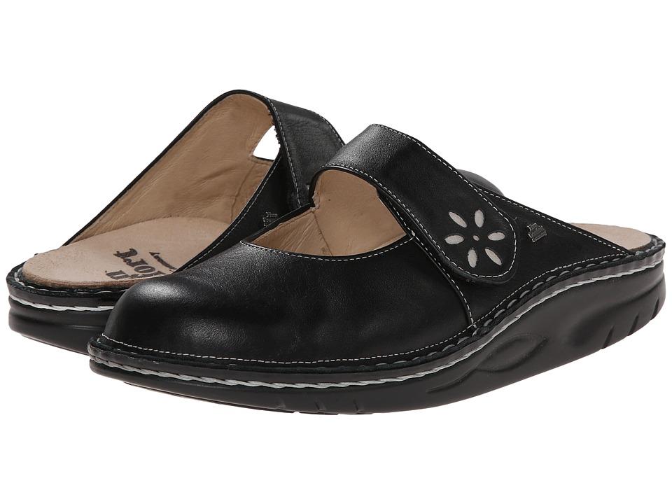 Finn Comfort Side 1567 Black/Silver Womens Clog Shoes