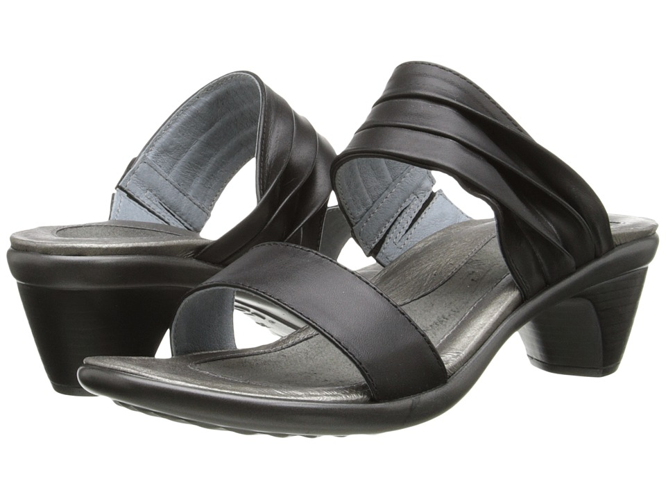 Naot Footwear Isis (Jet Black Leather) Women's Slide Shoes