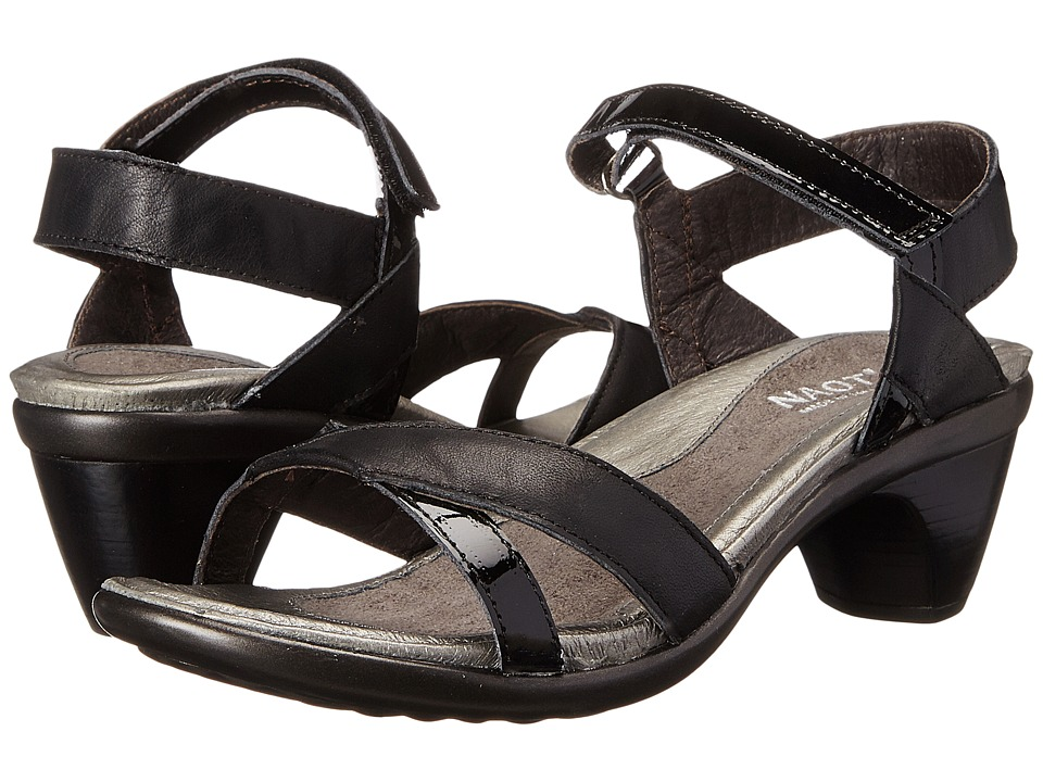 Naot - Cheer (Jet Black Leather/Black Patent Leather) Womens Dress Sandals