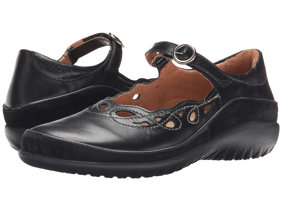 Naot - Rahina (Black Madras Leather/Black Suede) Womens Maryjane Shoes