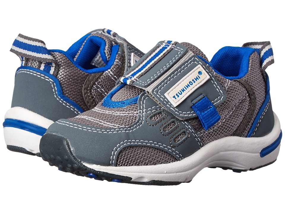 Tsukihoshi Kids - Euro (Toddler/Little Kid) (Gray/Royal Blue) Boys Shoes