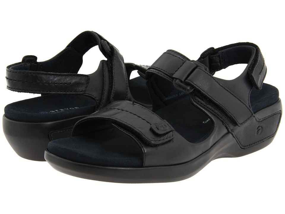 Aravon Katy (Black Leather) Sandals