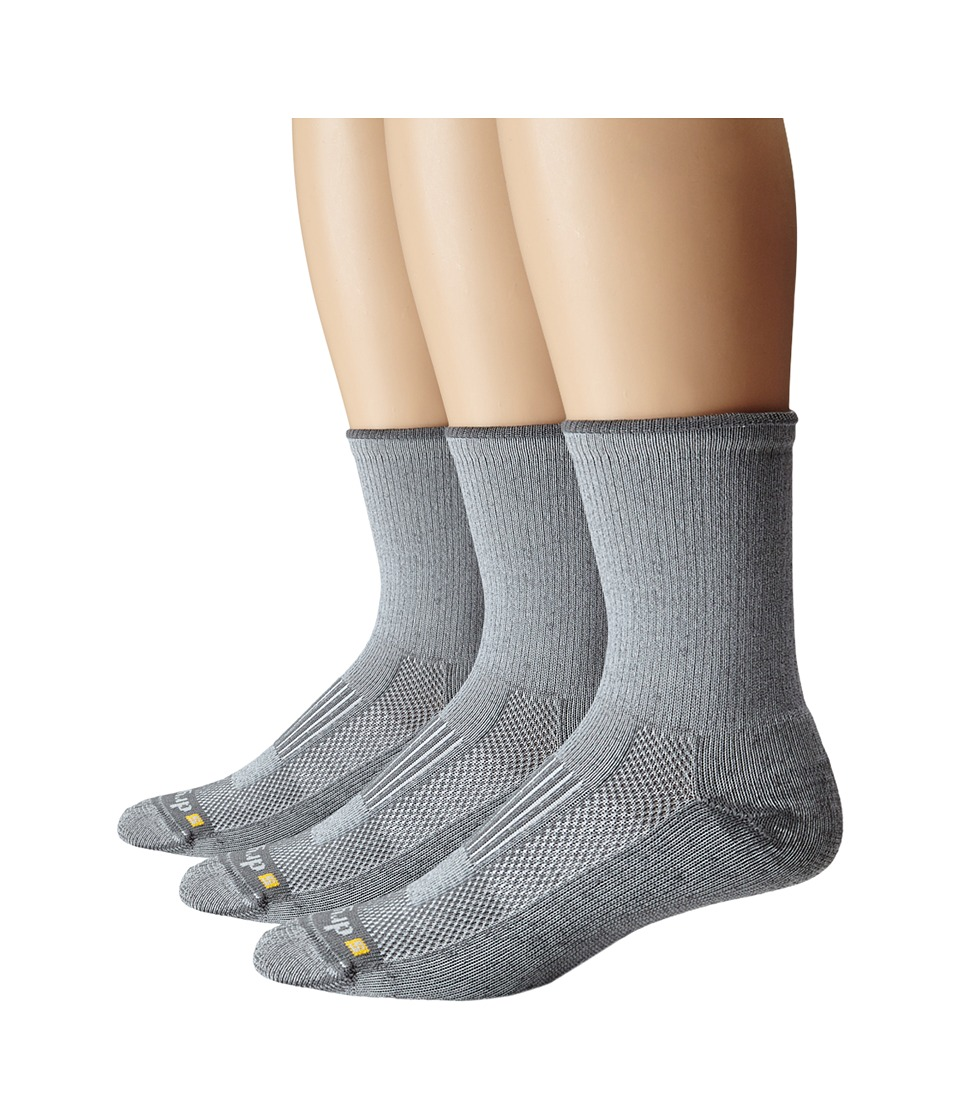 Drymax Sport Lite Hiking Crew 3 Pair Pack Grey Quarter Length Socks Shoes