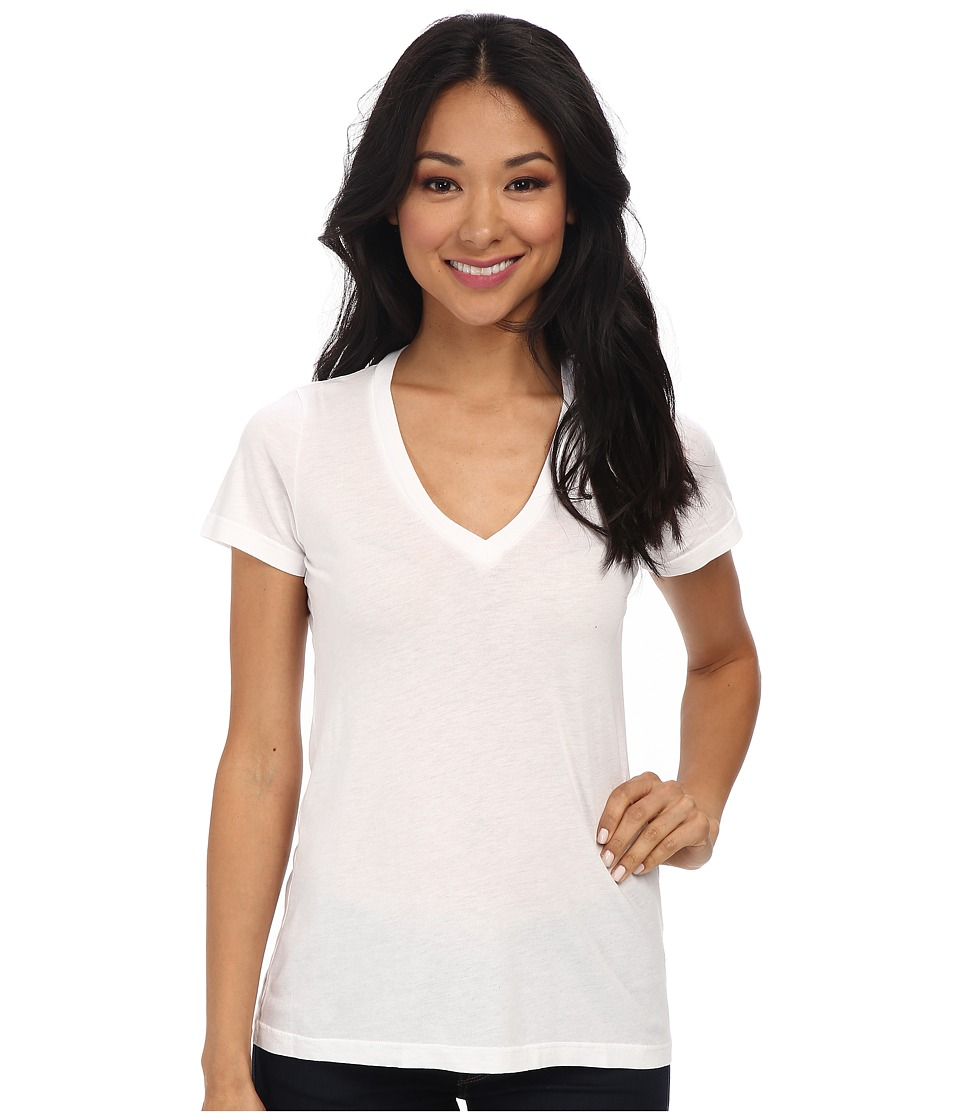 Splendid Very Light Jersey S/S V-Neck (White) Women