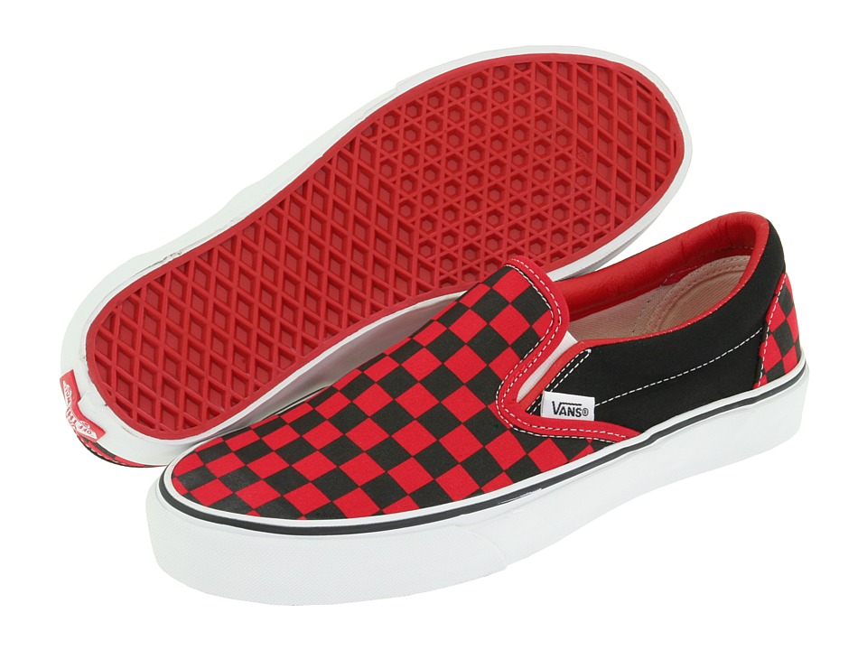 Vans Classic Slip-On Core Classics (Black/Formula One Checkerboard (Canvas)) Shoes