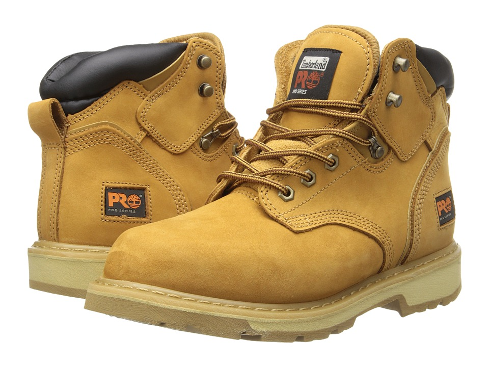 Timberland PRO - 6 Pit Boss Soft Toe (Wheat Nubuck Leather) Mens Work Lace-up Boots