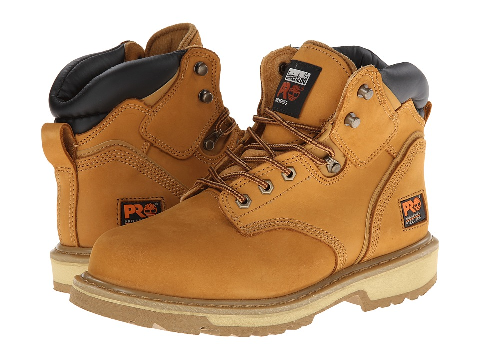 Timberland PRO - 6 Pit Boss Steel Toe (Wheat Nubuck Leather) Mens Work Lace-up Boots