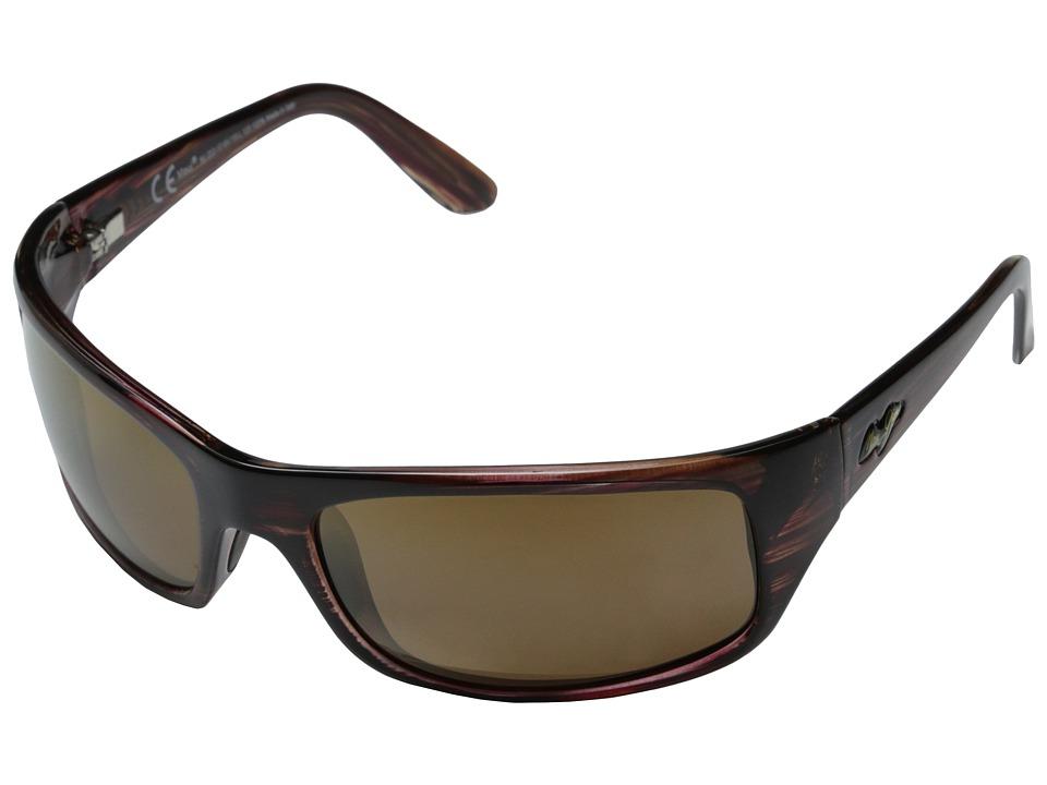 Maui Jim Peahi (Burgundy Tortoise/HCL Bronze Lens) Plastic Frame Sport Sunglasses