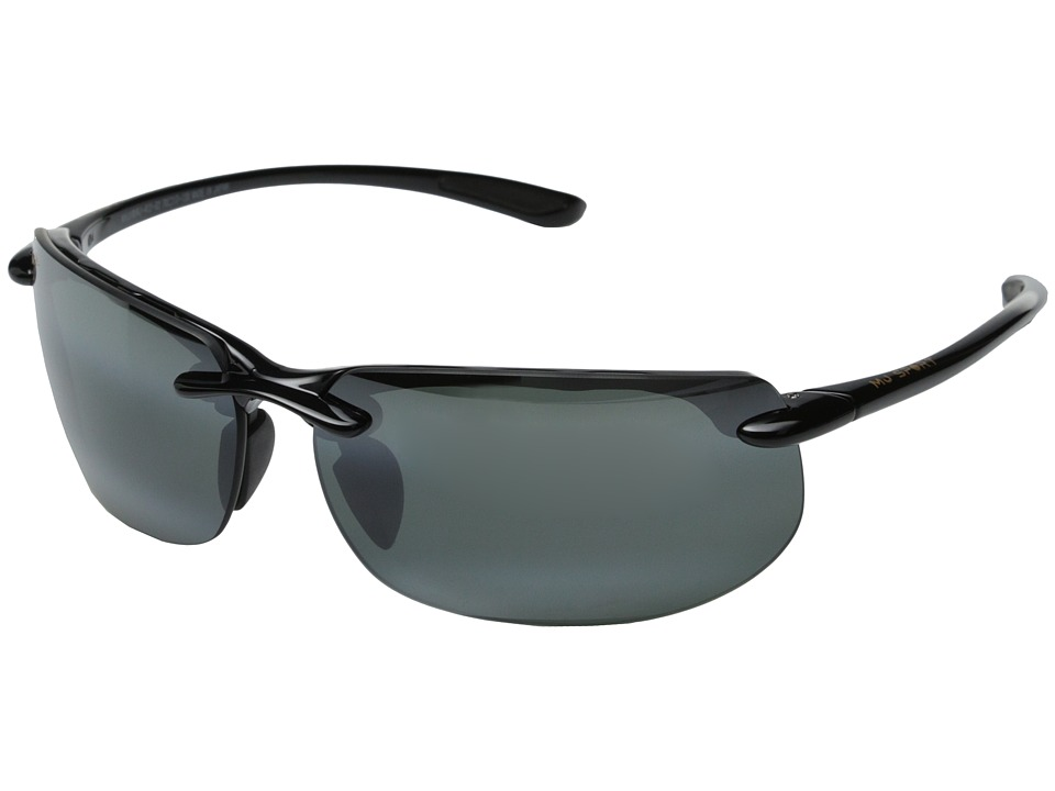 Maui Jim Banyans Gloss Black/Neutral Grey Lens Sport Sunglasses