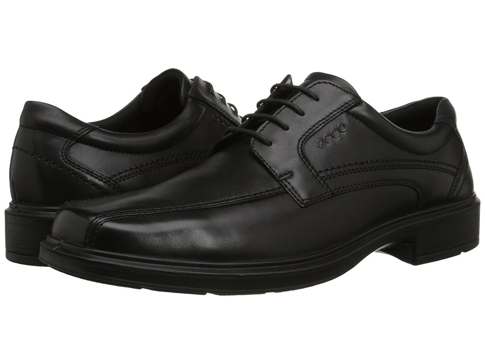 ECCO - Helsinki Bicycle Toe Tie (Black Pull Up Leather) Mens Lace-up Bicycle Toe Shoes