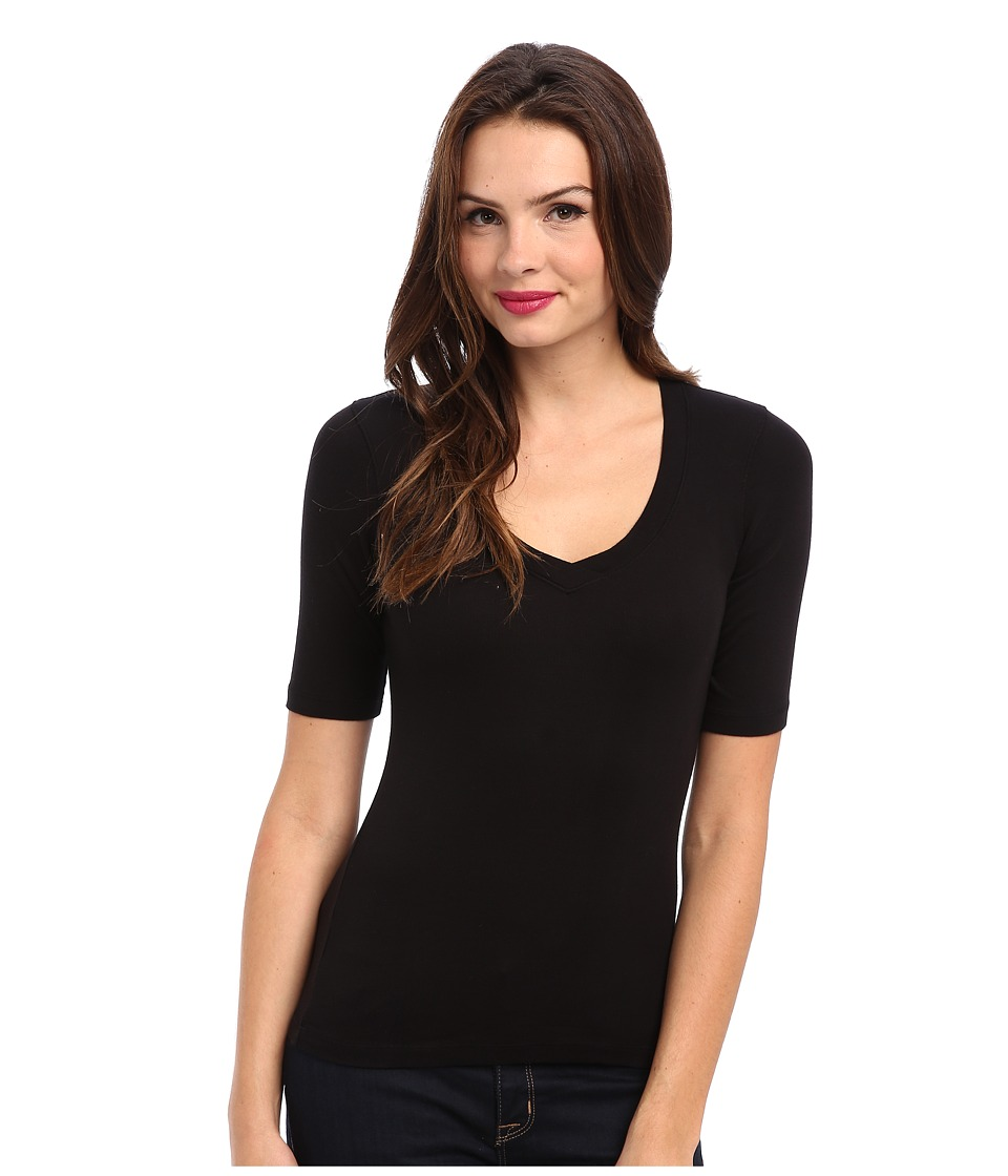 Splendid - 1x1 Half Sleeve V-Neck Top (Black) Womens T Shirt