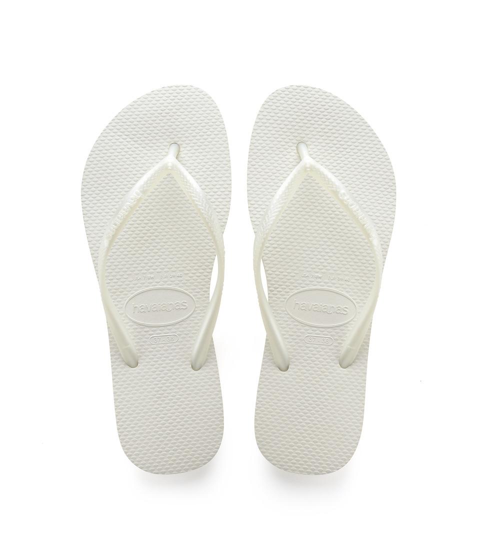 Havaianas Slim Flip Flops (White) Sandals