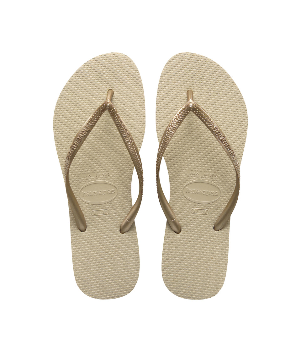 Havaianas Slim Flip Flops (Sand Grey/Light Golden) Sandals