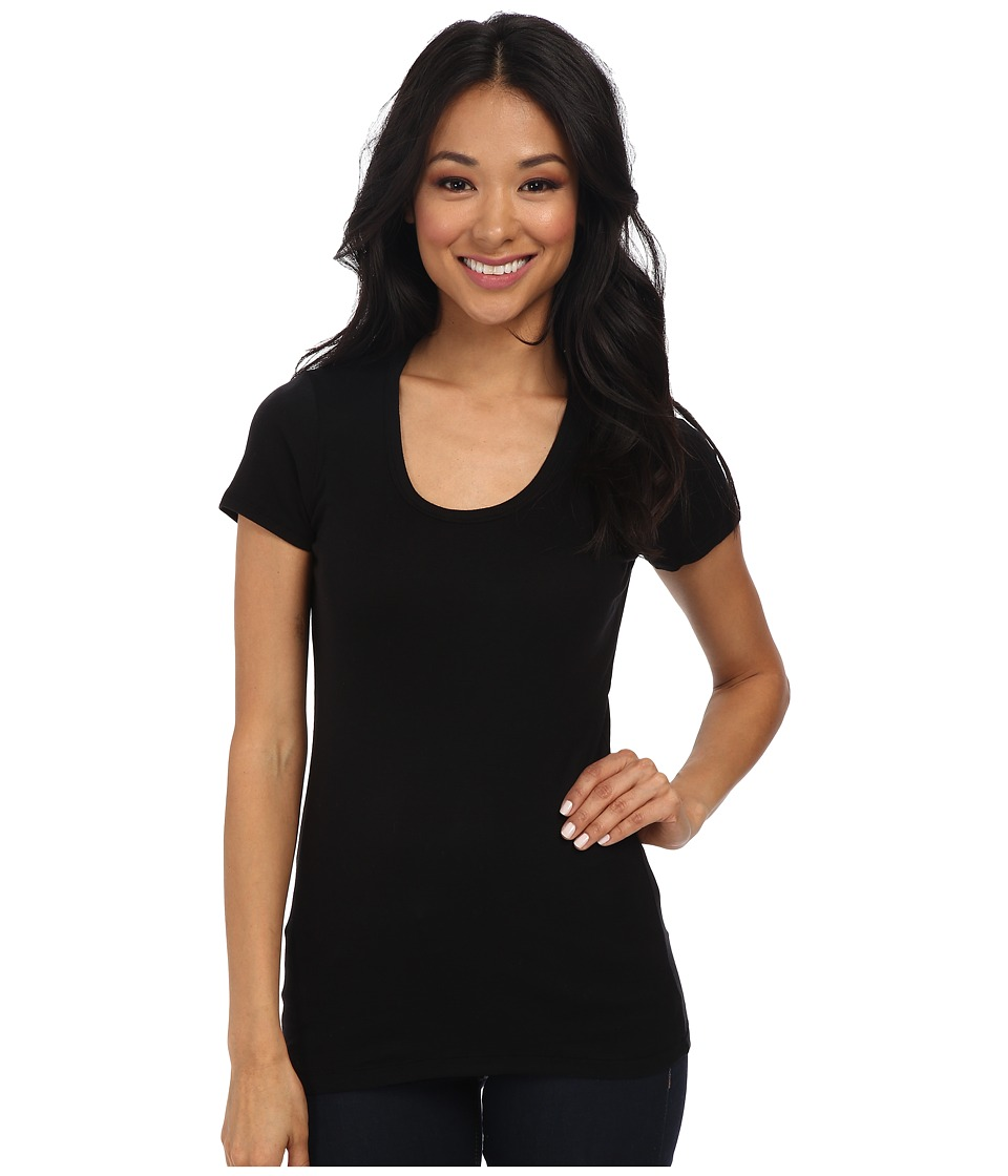 Splendid - 1x1 Rib Scoop Tee (Black) Womens T Shirt