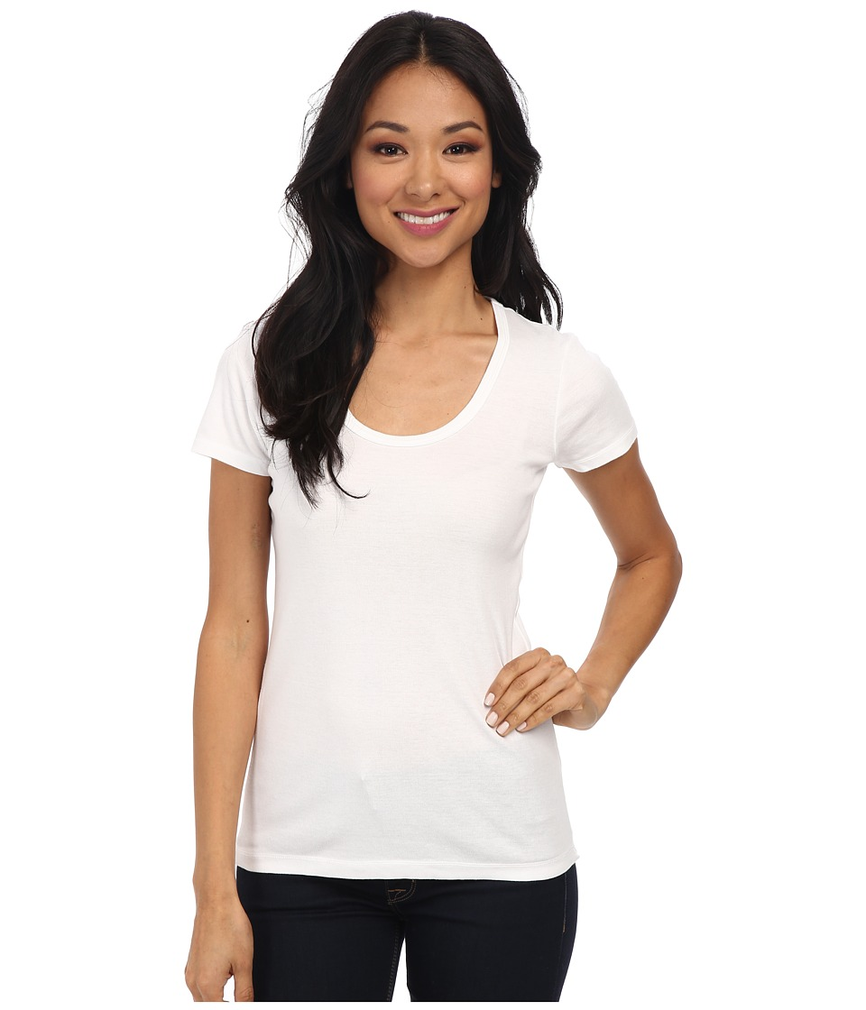 Splendid 1x1 Rib Scoop Tee (White) Women