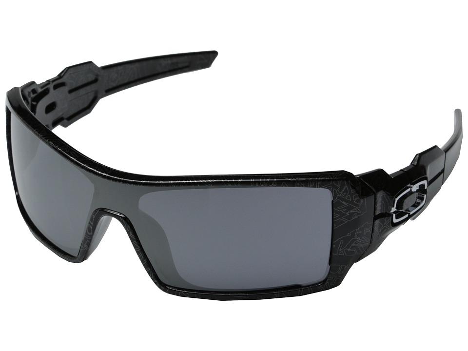 Oakley Oil Rig(r) (Polished Black W/Silver Ghost Text W/Black Iridium) Sport Sunglasses