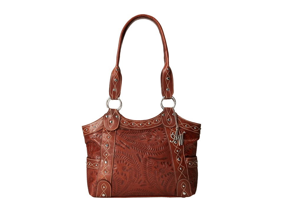 American West - Over The Rainbow Zip Top Fashion Tote (Caramel) Tote Handbags