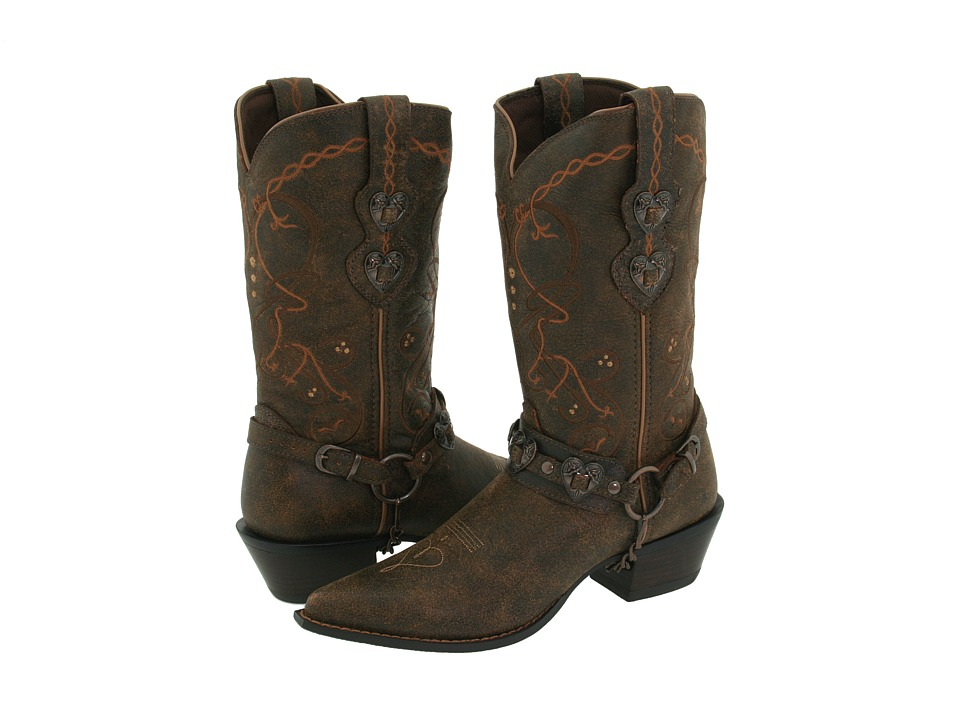 Durango Crush Cowgirl Boot (Saddle Brown W/Tan & Brown) Cowboy Boots