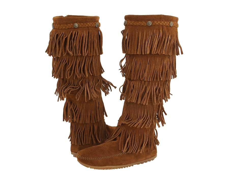 Minnetonka 5-Layer Fringe Boot (Brown Suede) Women