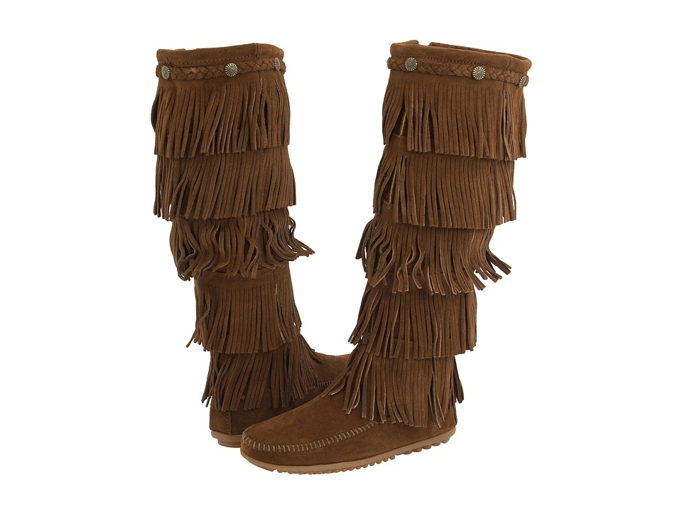 Minnetonka 5-Layer Fringe Boot (Dusty Brown Suede) Women'...
