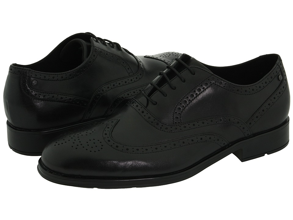 Rockport - Proper Place Almartin (Black Leather) Mens Lace Up Wing Tip Shoes